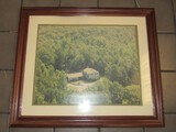 Arial View of Home in Forest Picture Print in Wooden Frame/Matt
