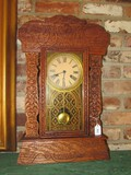 Wooden Ornate/Carved Tall Mantle Clock Floral/Scroll Motif Glass Front