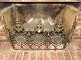 Ornate Fleur De Lis/Scroll Pattern Fireplace Guard w/ Floral Design Center