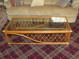 Wicker/Wooden Cross/Curved Design Coffee Table w/ Glass Top