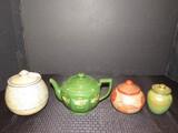 Misc. Ceramic Lot - Blue/Tan Jar, Green Teapot, Hand Painted w/ Chip, Green Jar, Etc.