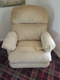 Tan Upholstered Recliner Arm Chair