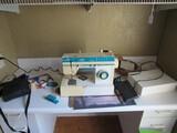 Singer Vintage 120 Volts Sewing Machine w/ Pedal & Accessories, Wooden Thread Storage Box