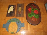 Wooden Wall Mounted Lot - Pineapple Décor Floral Décor, Owl on Barks