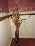 Tall Wide to Narrow, Wave Design Vase w/ Faux Flowers