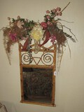 Wicker Wall Mounted Mirror Spiral Motif, Wave Top