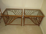 Wicker/Wooden Pair Cross/Curved Side Tables w/ Glass Tops