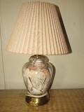 Glass Urn Design Lamp w/ Inlay Seashell Motif w/ Burlap Shade