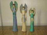 3 Tall Blue/Yellow/Green Angel Décor Figurines