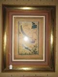 Peacock/Hen Picture Prints in Gilded Wooden Frame/Matt