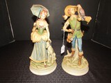 National Pottery Co. Classic Gallery Collection Hunting Man/Lady w/ Dog Ceramic Figurines