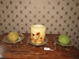 3 Glass Votive Candle Holders on Scroll Metal Stands