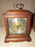 Mantle Clock Wooden Frame Ornate Gilded, Acanthus Acorn Corners, Brass Top