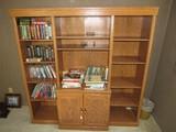 3 Part Wooden Shelving Organizer, 2 Sides 4 Shelves Adjustable, Center 2 Shelves w/ 2 Lower