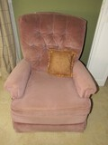 Action Lane Pink Upholstered Recliner w/ Cushion, Pin Back, Curved Back