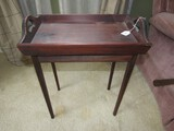 Wooden Side Tray Table on Narrow Legs