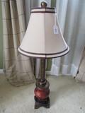 Antique Motif Design Lamp Tall Column Red Swirl Base on Plinth