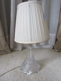 Clear Glass Lamp Etched Floral/Fan Cut Design w/ Shade