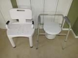 Lot - Portable Geriatrics Toilet Metal Frame, Adjustable Metal Shower Seat
