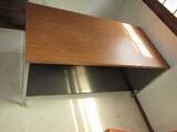 Wooden Veneer Top/Metal 6 Drawer Work Desk, Metal Narrow Legs
