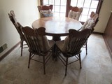 Round Wooden Dining Table w/ 6 Wooden Chairs Slat Back