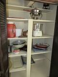 Cabinet Contents Lot - Ice Cream Maker, Copper Pot w/ Plate, Casserole w/ Warmer, Etc.