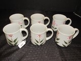 6 Hand Painted Grey Ceramic Pink/White Flower Pattern Cups