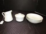Lot - Liling Fine China Creamer/Sugar w/ Floral Band Pattern & 4 Crown Ming Fine China Bowls