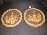 Pair - Universal Statuary Corp. Ceramic Wall Décor Plates Grecian Bottle Fruit Motif Design