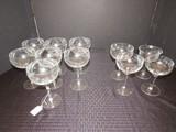 Lot - Floral/Leaf Etched 7 Champagne Saucers, 6 3/4