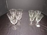 Lot - 4 Floral etched Goblets 6 1/4