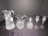Glass Lot - Tall Diamond Cut/Fan Pottery Pitcher, Prescut Perfume Bottle