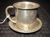 Towle Sterling 781 Baby Cup G.E.W. on Base w/ Scroll Trim Plate