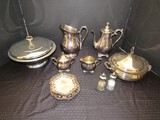 Silverplate Lot - Victorian Rose WM Rogers & Sons Sugar/Creamer, Tall Pitcher, Carafe