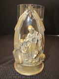 Jesus in Manger Gilded Ceramic Votive Candle Holder