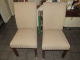 Pair - Gray Upholstered Pin-Trim Chairs on Wooden Legs