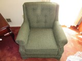 Green Upholstered Arm Chair on Block Wooden Feet
