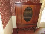 Vintage Large Wooden Display Cabinet 2 Wave Trim Shelves Inlay, Grooved Pattern