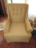 Pair - Gilded/Golden Upholstered Scallop Pattern Arm Chairs Pin Back