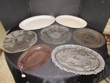 Lot - Pink Oval Platter, Floral Etched, Glass Platters, Ceramic Floral Patterns, Etc.