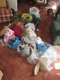 X-Mas Lot - Baubles, Holly, Wreaths, Glass Candle Holders, Jesus in Manger Décor, Etc.