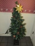 Faux Miniature X-Mas Tree in Brown Planter Pot w/ Fairy Lights