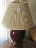 Large Urn-Design Maroon Ceramic Lamp Brass Base w/ Shade