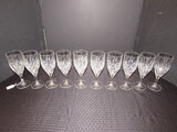 10 Clear Crystal Glass Goblets Fan/Leaf Cut Pattern