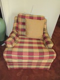 Red/Green/Yellow Square Pattern Upholstered Chair Pin Back w/ Block Wooden Feet