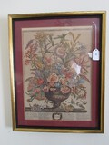 September Colorful Bouquet Picture Print in Gilded Wooden Frame/Matt