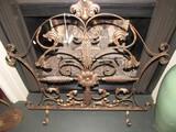 Antique Gilded Motif Metal Fireplace Guard Scroll/Floral Pattern Motif, Scallop Top