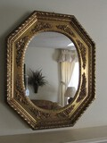 Large Gilded Wooden Frame Wall Mirror Floral Trim Motif, Rope Band, Hexagonal Shape