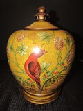 Tall/Wide Yellow Ceramic Urn Vase w/ Lid Red Cardinal Motif on 4 Scallop Legs
