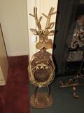 Tall Metal Antique Patina Reindeer w/ Holly Décor